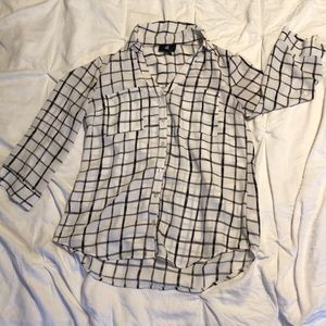Black and white checkered blouse